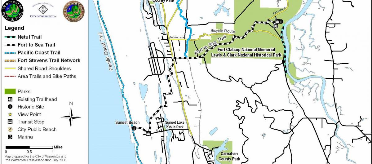 Parks And Trails City Of Warrenton Oregon - Fort clatsop on us map